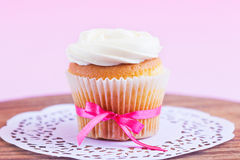 Homemade White Cupcake Royalty Free Stock Photography