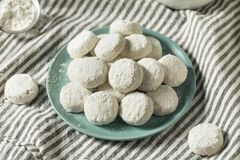 Homemade White Mexican Wedding Cookies stock images