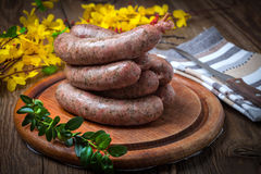Homemade white sausage out pigs meat. Royalty Free Stock Photos