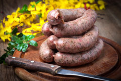 Homemade white sausage out pigs meat. Stock Photography