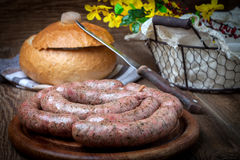 Homemade white sausage out pigs meat. Royalty Free Stock Photo