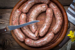 Homemade white sausage out pigs meat. Royalty Free Stock Photography