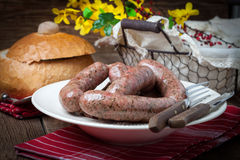 Homemade white sausage out pigs meat. Royalty Free Stock Image