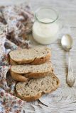 Homemade whole grain bread with pecans and Greek yogurt Royalty Free Stock Image