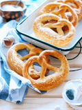 Homemade whole meal pretzels royalty free stock image