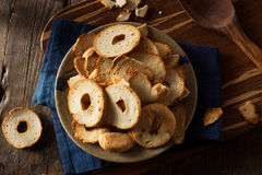 Homemade Whole Wheat Bagel Chips Royalty Free Stock Image