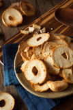 Homemade Whole Wheat Bagel Chips Stock Images