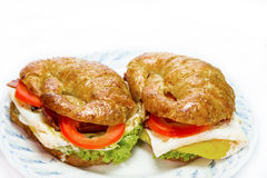 Homemade whole wheat croissant sandwich Royalty Free Stock Image