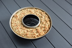 Homemade wholegrain almond cake in torus form. Closeup Royalty Free Stock Photo