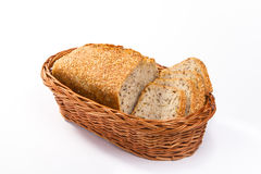 Homemade wholemeal bread in basket Stock Photo