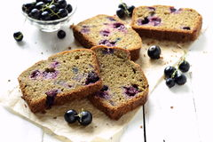 Homemade wholewheat cake with blackcurrant Stock Images