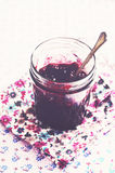 Homemade wild blueberry jam in glass jar Royalty Free Stock Image