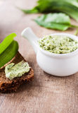 Homemade wild garlic butter Stock Photo