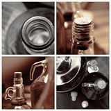 Homemade wine bottles vintage collage Stock Photo