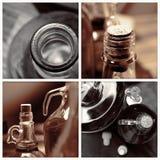 Homemade wine bottles vintage collage. Homemade wine bottles vintage sepia collage stock photo