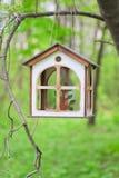 Homemade wooden bird feeder Royalty Free Stock Photos
