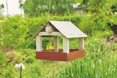 homemade wooden birdhouse bird feeder royalty free stock photos