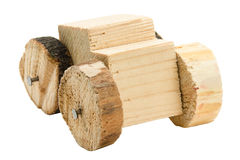 Homemade wooden car toy Royalty Free Stock Images