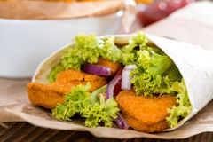 Homemade Wrap with crispy Chicken Royalty Free Stock Photography