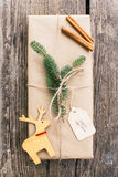 Homemade wrapped christmas present Stock Images