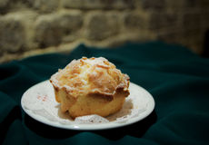 Homemade yeast buns on black green background Royalty Free Stock Image