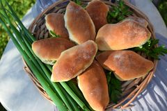 Homemade yeast buns with eggs and green onion filling. Outdoor food photo stock photography