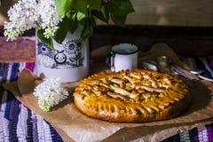 Homemade yeast cake with Apple jam Stock Image