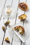 Homemade Yeasted Honey Cornbread with Butter on a Crystal Plate and Dried Flowers Stock Photography