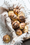 Homemade Yeasted Honey Cornbread Loaves in a Wooden Box Stock Photos