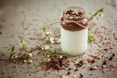 Homemade yoghurt with chocolate mousse and  chocolate candy drop Stock Photo