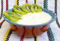 Homemade yoghurt kiwi Royalty Free Stock Photo