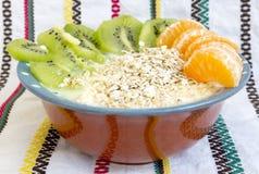 Homemade yoghurt kiwi muesli mandarins Stock Image