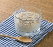 Homemade Yoghurt with Porridge Oats in Glass Cup Stock Photography