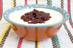 Homemade yoghurt raspberry jam Royalty Free Stock Images