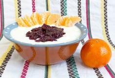 Homemade yoghurt raspberry jam Royalty Free Stock Photos