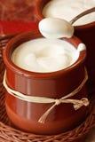 Homemade yogurt. Homemade yogurt in a small ceramic pot Stock Image