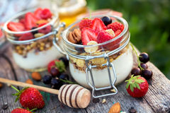 Homemade yogurt with berries in portion jars. Food for kids Royalty Free Stock Photo