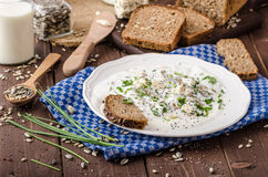 Homemade yogurt dip with blue cheese and chives Stock Image
