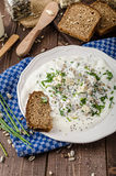 Homemade yogurt dip with blue cheese and chives Stock Photography