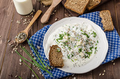 Homemade yogurt dip with blue cheese and chives Royalty Free Stock Image