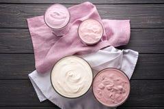 Homemade yogurt in dishware Royalty Free Stock Photography