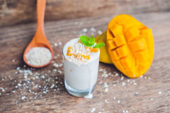 Homemade yogurt with fresh mango slices Stock Images
