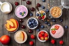 Homemade yogurt with fresh strawberry, blueberry, peach stock photo