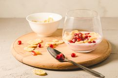 Homemade yogurt with garnet grains and flakes in glass/Homemade yogurt with garnet grains and flakes in glass on a wooden tray and stock images