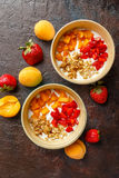 Homemade yogurt with granola, apricot and pine nuts stock images