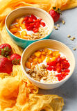 Homemade yogurt with granola, apricot and pine nuts stock photos
