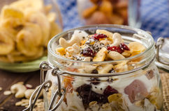 Homemade yogurt with granola, dried fruit and nuts bio Royalty Free Stock Photo