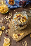 Homemade yogurt with granola, dried fruit and nuts bio Royalty Free Stock Image