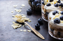 Homemade yogurt with granola muesli and blueberries Stock Photos