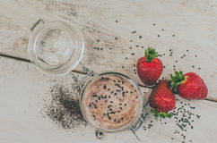 Homemade yogurt in a jar with strawberry Royalty Free Stock Photos